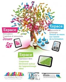 Affiche de présentation de la formation multi-modale représenté par un arbre à palabre multicolore.